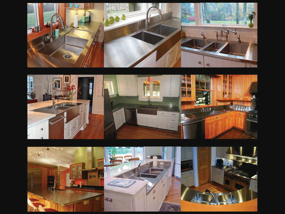 Multiple stainless steel countertops and sinks in a collage