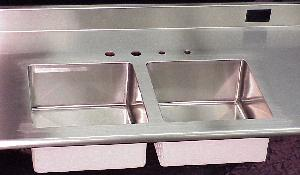 Custom stainless steel countertops and stainless steel sinks for Stainless steel countertop with integral sink